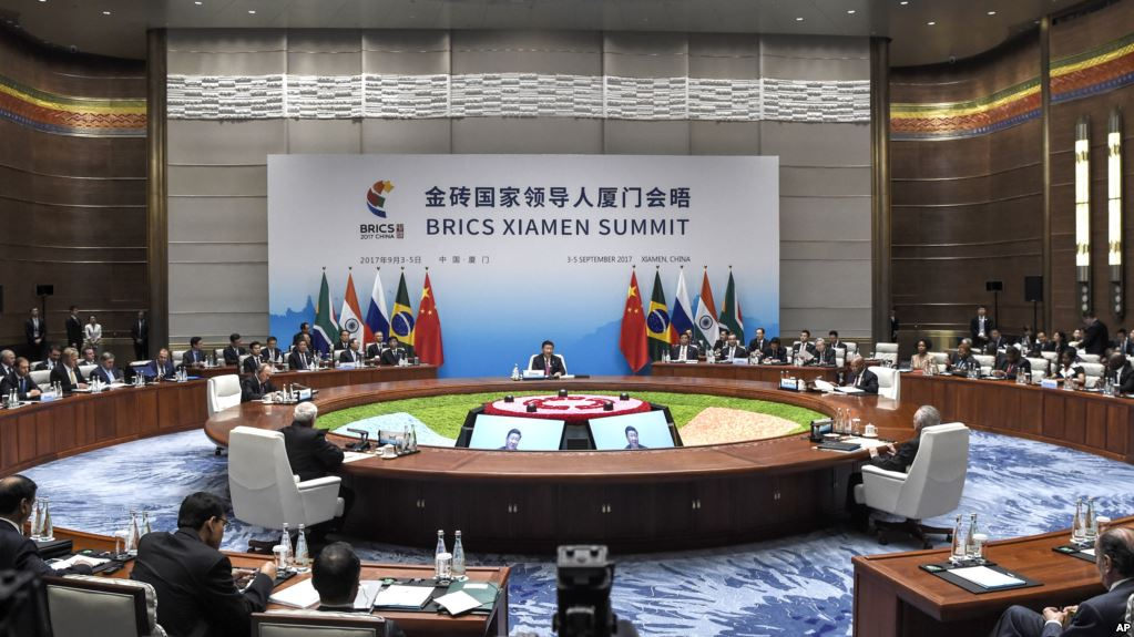 A plenary session of the BRICS Summit is held in Xiamen, Fujian province, China, September 4, 2017. (AP)