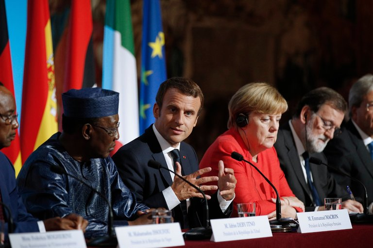 President Idriss Déby of Chad, President Emmanuel Macron of France, Chancellor Angela Merkel of Germany and Prime Minister Mariano Rajoy of Spain at a meeting on Monday in Paris.(European Pressphoto Agency/Yoan Valat)