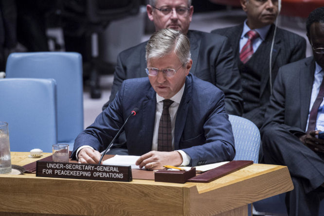 Jean Pierre Lacroix, Under Secretary General for Peacekeeping Operations, briefs the Security Council on the situation in South Sudan. October 17, 2017. (UN/Kim Haughton)