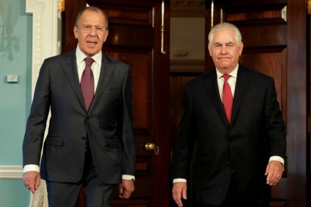 U.S. Secretary of State Rex Tillerson with Russian Foreign Minister Sergey Lavrov. (Reuters)