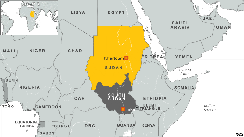 Map of Sudan. (VOA)