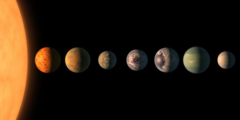 Artist's concept shows what each of the TRAPPIST-1 planets may look like, based on available data about their sizes, masses and orbital distances. (NASA/JPL-Caltech)