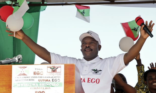 Burundian President Pierre Nkurunziza speaks during a campaign in Gitega province, central Burundi May 2, 2018 (AFP)
