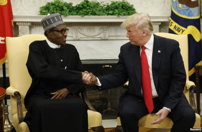 U.S. President Donald Trump meets with Nigeria's President Muhammadu Buhari in the Oval Office of the White House in Washington, April 30, 2018. (Reuters)