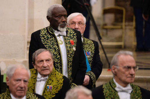 Senegalese sculptor Ousmane Sow is pictured during his official entry ceremony at the Academie des Beaux-Arts Paris, December 11, 2013. (AFP/ Eric Feferberg)