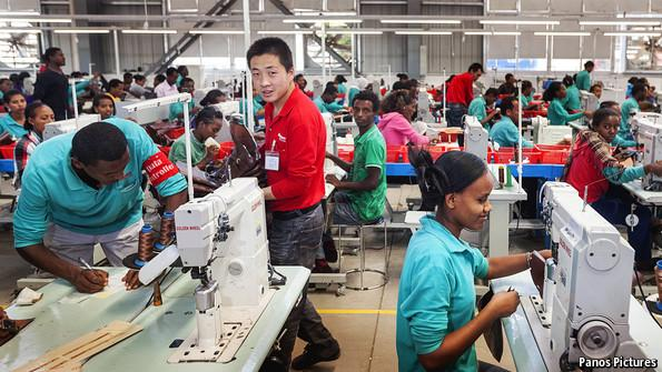 Huajian, a Chinese shoemaker factory in Ethiopia. (Photo Economist)