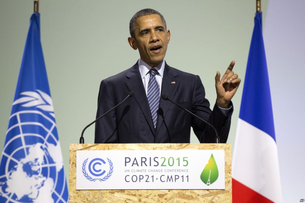 President Barack Obama delivers remarks during COP21, United Nations Climate Change Conference, in Le Bourget, outside Paris, on November 30, 2015. (Photo/AP)