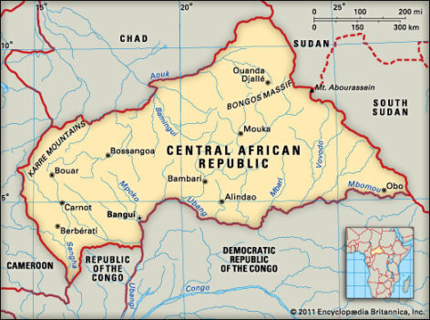 Map of Central Africa Republic. (Encyclopedia Britannica)
