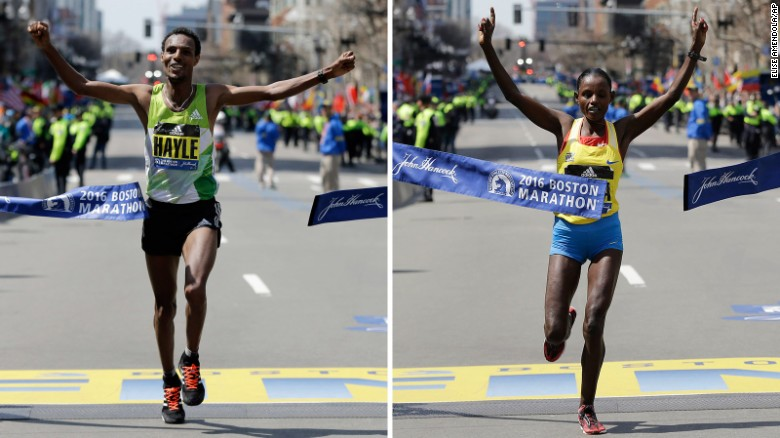 Lemi Berhanu Hayle won the men's Boston Marathon, and Atsede Baysa won the women's race. Photo/CNN)