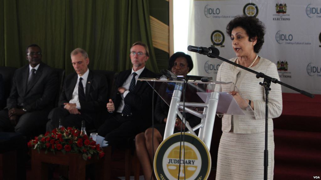 Irene Khan, the director general of the International Development Law Organization, speaks at the launch of a report detailing recommendations ahead of Kenya's August polls. (VOA News)