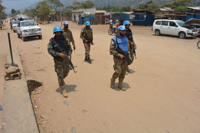 Peacekeepers of MONUSCO patrol the streets of the city to ensure the protection of civilians in Uvira, South DRC (Photo/MONUSCO)