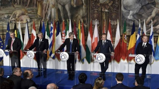Leaders of the European Union in the Orazi and Curiazi Hall at the Palazzo dei Conservatori during an EU summit in Rome, March 25, 2017. (AFP)
