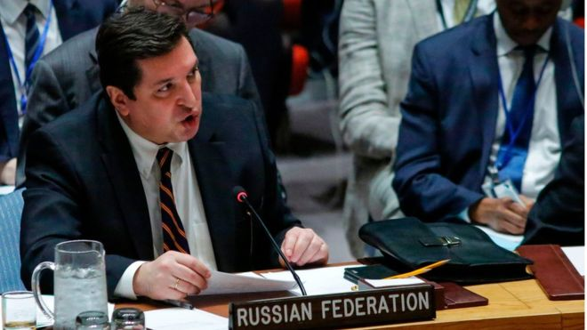Russian Deputy Permanent Representative to the United Nations Vladimir Safronkov speaks after he voted against a Draft resolution that condemned the reported use of chemical weapons in Syria at the Security Council on April 12, 2017 at UN Headquarters in New York. (AFP)