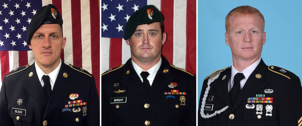 From left: Staff Sgt. Dustin Wright, 29, Staff Sgt. Jeremiah Johnson, 39, and Staff Sgt. Bryan Black, 35. All three Special Forces soldiers died from wounds suffered during an ambush September 4, 2017 in Niger. (U.S. Army)