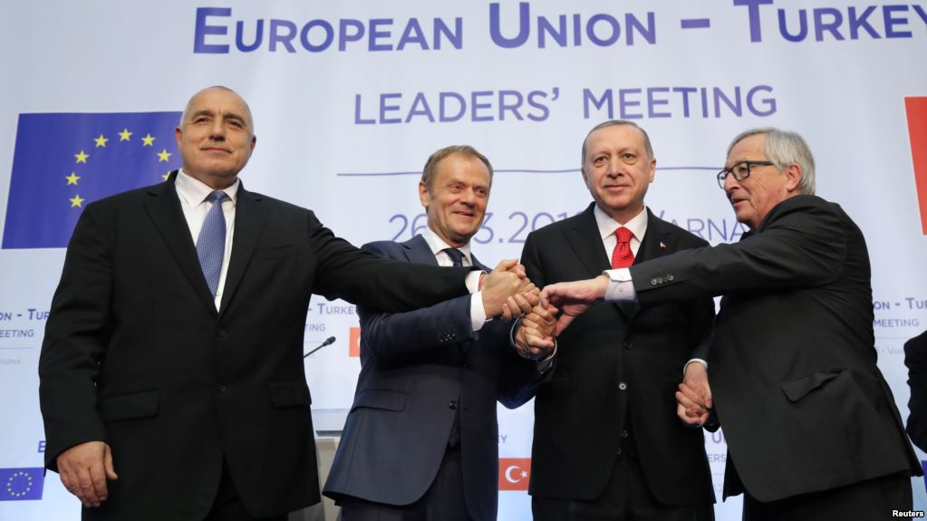 Bulgaria's Prime Minister Boyko Borissov, European Council President Donald Tusk, Turkish President Tayyip Erdogan and European Commission President Jean-Claude Juncker at Euxinograd residence near Varna, Bulgaria, March 26, 2018. (Reuters)