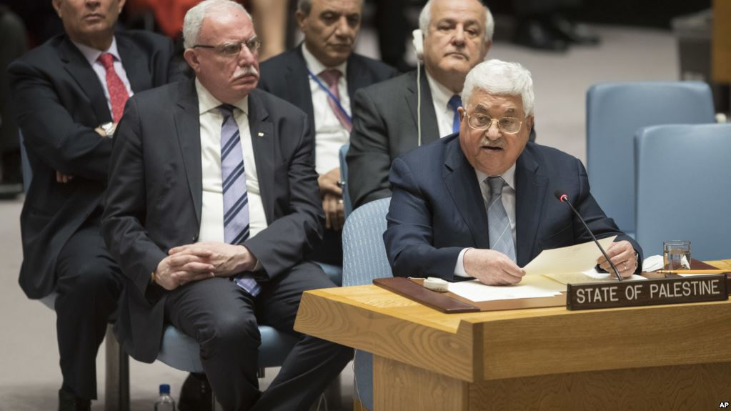 Palestinian President Mahmoud Abbas speaks during a Security Council meeting on the situation in Palestine, February 20, 2018 at United Nations headquarters. (AP)