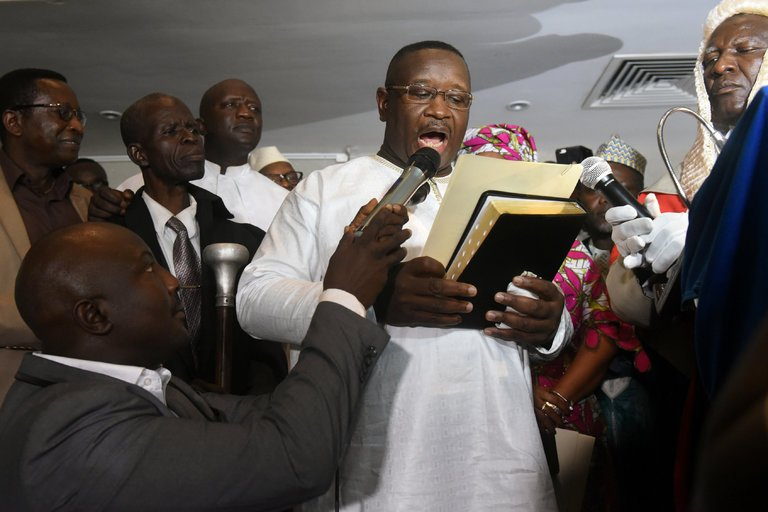 The opposition presidential candidate in Sierra Leone, Julius Maada Bio, was sworn in as President April 5,2018. (Reuters/Olivia Acland)