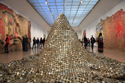 """Gravity and Grace: Monumental Works by El Anatsui,""  at the Brooklyn Museum. (Chester Higgins Jr./The New York Times)"
