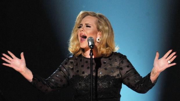 Adele performs onstage at the 54th Annual Grammy Awards on Feb. 12, 2012, in Los Angeles. (Credit: Getty)