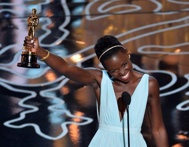 Lupita Nyong'o, winner of the award for best actress in a supporting role for '12 Years a Slave', at the Oscars on Sunday, March 2, 2014, at the Dolby Theatre in Los Angeles. (Photo Getty Images)