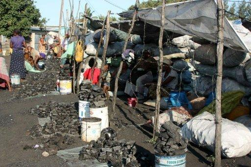 Women sell charcoal at the Xipamanine charcoal market, one of hundreds of its kind tucked inside the sprawling shantytowns in Maputo. People come to these kinds of charcoal markets for their daily or monthly charcoal supplies. (Photo AFP/Jinty Jackson)