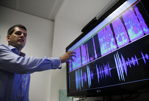 Benoit Fauve, a speech scientist with a voice recognition technology company ValidSoft,  displaying the voice biometric features of a telephone call during a demonstration in London September 12, 2014. (AP/Lefteris Pitarakis)