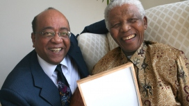 (File Nelson Mandela and Mo Ibrahim) The average age of an African president is about 63 years old when the average age of the citizen is 19 years old, says telecommunications entrepreneur Mo Ibrahim, who was born in Sudan. So you can really see the gap between Africa's leadership and our people.  (Image - My Continent)