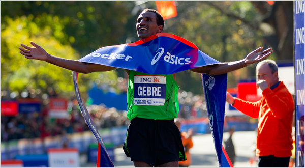 Gebre Gebremariam crossed the finish line to win the men's race of the New York City Marathon, his first victory in his first marathon.(Photo:The New York Times - Avi Gerver)