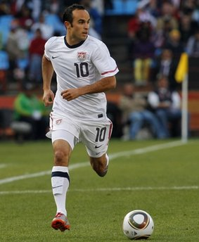 United States' Landon Donovan reacts after a goal by United States' Clint Dempsey was disallowed, during the World Cup group C soccer match between the United States and Algeria at the Loftus Versfeld Stadium in Pretoria, South Africa, Wednesday, June 23, 2010. (AP Photo/Bernat Armangue)