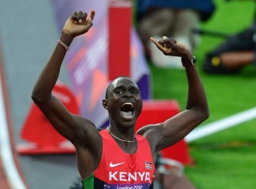 Kenya's gold medalist David Rudisha celebrates after winning the men's 800 final at the athletics event during the London 2012 Olympic Games in London.(Photo AFP/ Gabriel Bouys)
